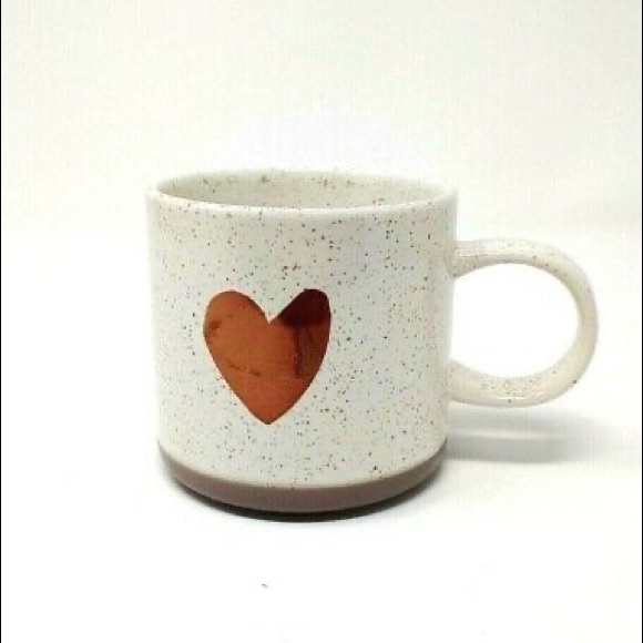 STARBUCKS HEART MUG METALLIC ROSE GOLD COFFEE TEA